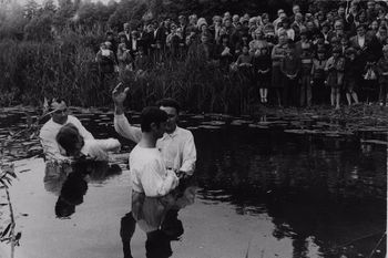 The pastor Vasily Filimonov - water baptism in Jelgava